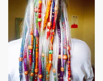 HANDMADE custom wool DREADLOCKS hair wraps, beads.