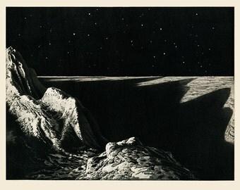 La Lune, La Lune Print, Black and White Moon Print, Planet Print, Sci-fi Art, Black and white Planet Art Print, outer space art
