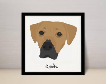 "8"" x 8"" Custom Pet Portrait Illustration, Dog Portrait, 8x8 Square Print"