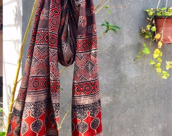 Ajrakh hand block printed scarf • madder red • indian cotton • hand printed • natural dyes • vegetable dyes