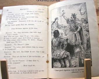 Vintage 1930s school text book The Plain Text Shakespeare Macbeth school edition black and white illustrations pocket size paperback 250