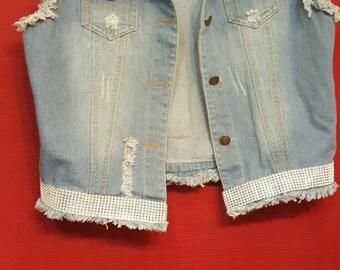 Bling distressed Jean jacket vest