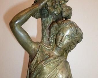 Tall European Neo Classical Greco Roman Woman bronze sculpture circa 1930