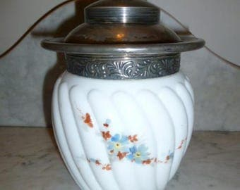 Antique opalescent milk glass hand painted cookie jar silver plated lid circa 1890