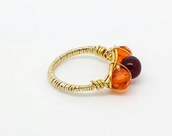 Gold orange and red three stone ring, orange gold ring, red gold ring, gold ring, wire wrapping ring,