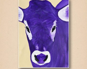 Purple Cow Acrylic Painting Art Print