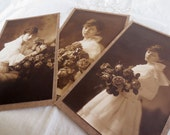 Early 1900's Wedding Photographs - Sepia - Bridal Woman With Flowers
