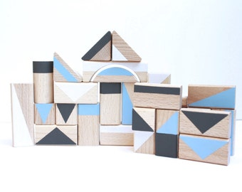 Wooden Toy Cube 30 pcs *clouds*