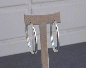 925 Sterling Silver,Half Round Big Size Hoop Earring,50mm.Wholesale Price.