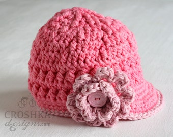 Handmade crochet Newsboy textured hat, crochet, crochet baby hat, baby shower gift, cotton baby hat, pink hat, baby hat, MADE TO ORDER
