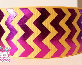 Yellow Gold And Purple Foil Chevron Cheer Ribbon--5 yards
