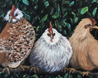 Original Acrylic Painting of Chickens Roosting