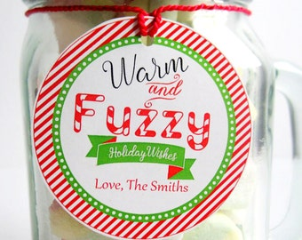 Editable  Christmas Favor Tag, Gift Tag, Merry Christmas, Round and Square Holiday Label,  Warm and Fuzzy Holiday Wishes Gift Tags -D569
