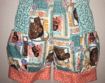 Girls Moana Shorts Maui Waves Baby Toddler Boutique Bubble Shorts with Side Pocket Birthday Party Outfit Every Day Park