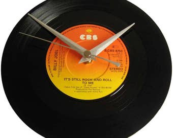 Billy Joel Vinyl Record Clock It's Still Rock And Roll To Me wall decor gift for music fan 45th 50th 55th birthday present husband mum dad