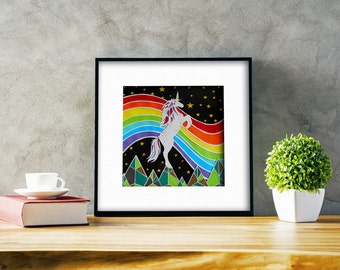 FRAMED Papercut Unicorn Rainbow ~paper cut out, wall art, paper cut, papercutting, paper cutting, papercut art, paper cut art, unicorn art