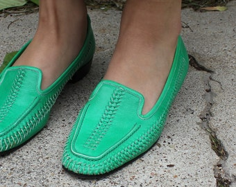Green Leather Loafers - vintage flats