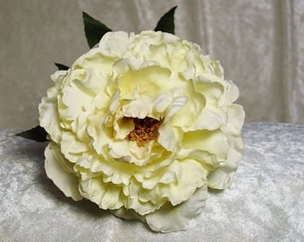 Real Look Silk Peony on Stem in CULTURED PEARL~Top Quality Flower~Exquisite~Wedding~Display~New
