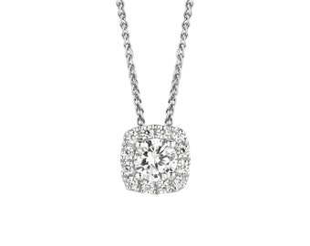 14k White Gold Diamond Pendant - 0.75 Carat Cushion Halo Style, Halo Style Pendant, 14k White Gold Pendant, Diamond Pendant Free Shipping