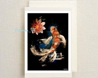 Koi Carp  Fine art greetings card