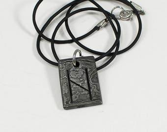 Damascus Hagalaz - Pattern Welded Hand Forged Viking Runic Pendant