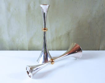Pair of Dansk Silver Plated Trumpet / Tulip Candle Holders - Danish Modern Candlesticks by Jens Quistgaard