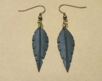 Bicycle inner tube small feather earrings