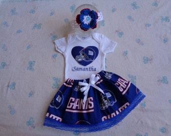 New York Giant Personalized Baby Girl Onesie, Skirt and Headband