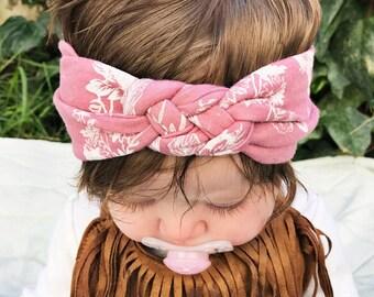Antique Pink - baby sailors knot headband - newborn headband - turbans for tots