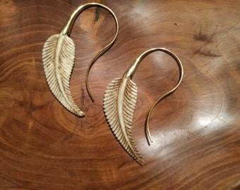 Bone and brass feather earings