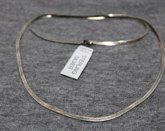 Sterling Silver Vintage Flat Necklace