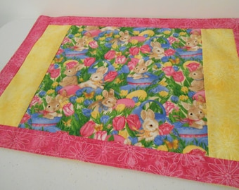 Easter placemat, FREE SHIPPING in USA!, pink, yellow, purple, 100% cotton, bright!, reversible, iron-on interfacing
