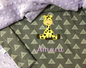 Giraffe Baby Blanket | Personalized Giraffe Baby Blanket | Personalized Geometric Baby Blanket | Triangle Baby Blanket | Zoo Baby Blanket