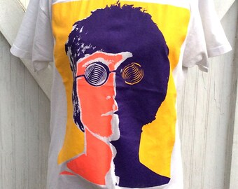 Reserved RARE Vintage Retro Estate John Lennon The Beatles T-Shirt Screen Stars Psychedelic Multi Color Funk Tee Size L Made in USA Pop Art