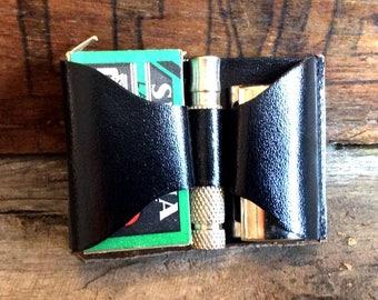 Vintage Antique Estate Septima Shaving Safety Razor Travel Kit Made in USA Leather Case