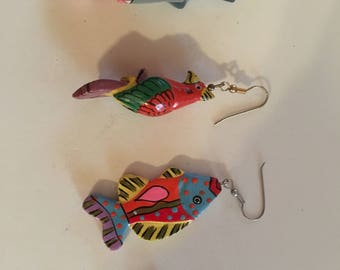 Funky mix and match tropical earrings