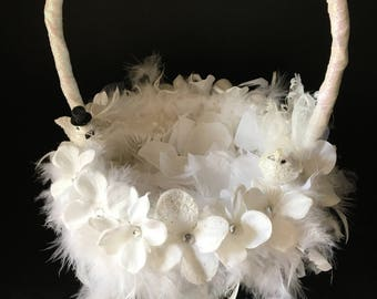 White on White Flower Girl Basket