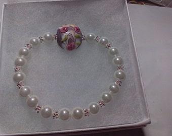 Purple/White/Pink Lampwork Bead bracelet