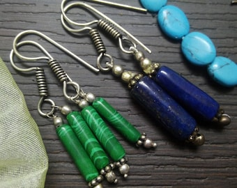 Combo of 2 earring pair, Lapis Lazuli n Malachite Stone 925 sterling Silver Plated  stunning dangle earring, gemstone Earring