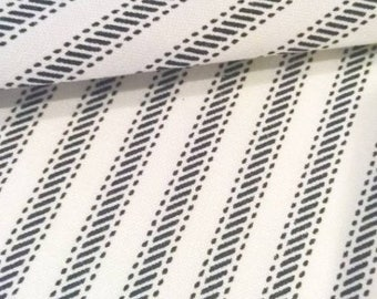 Navy Ticking Stripe Fabric by the Yard Designer Cotton Ticking Home Decor Fabric Drapery Curtain or Upholstery Fabric Navy Ticking C343