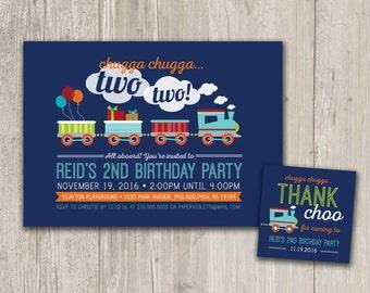 Train Birthday Invitation, Train Birthday Party, Chugga Chugga Two Two Invite with FREE matching favor tags | Digital File