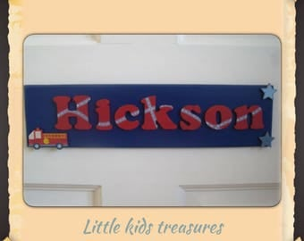 "Childrens hand made wooden name plaques / door signs. 12x3""Boys Personalised up to 8 letters. Little kids treasures"