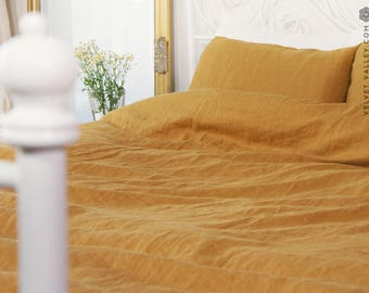 Linen mustard SET of DUVET cover and PILLOW shams -linen honey yellow bed set -Light mustard full/double /queen/king size linen bed set