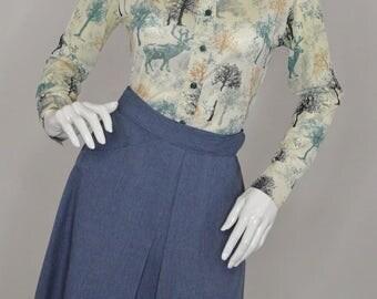 Vintage Estate Jean Wrap Skirt Front Pocket 70s