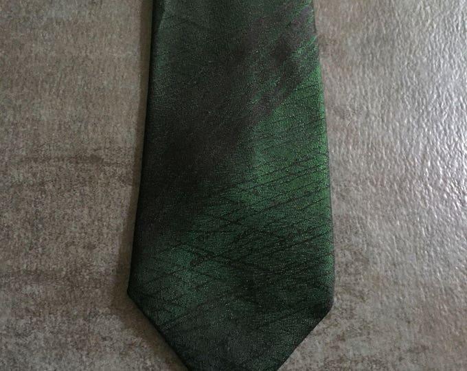 Vintage Estate Black Green Abstract Print Tie