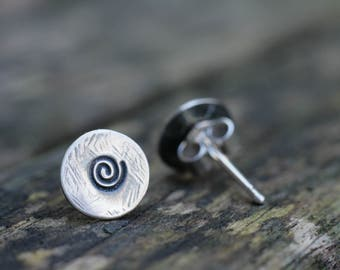 Silver Spiral Stud Earrings, Everyday Silver Earrings, Small Oxidized Earrings, UK Handmade