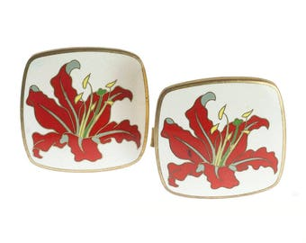 Cloisonne Flower Cuff Links