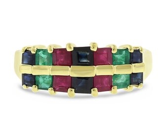 2.00 CT Natural Two Row Emerald, Ruby & Sapphire Band in Solid 14k Yellow Gold