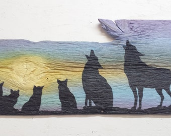 Coyote Family Barn Wood Painting