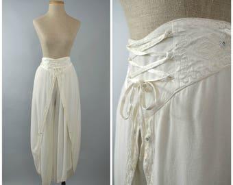 Zenana   Vintage 90s Mirrored Harem Pants   1990s White Tulip Pants